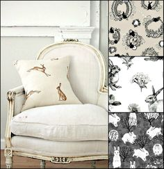 French chair with bunny pillow. Designer rabbit upholstery fabric