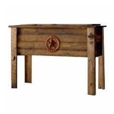 Large Rustic Texas Patio Cooler - would be really cute with the mason jar drinks in them