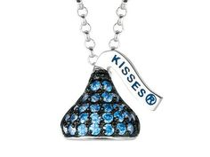 September Birthstone CZ%27s Small Flat Back Shaped Hershey%60s Kiss Pendant- 16 to 18 Inch Adjustable Chain Included in 925 Sterling Silver