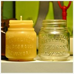 beeswax candle vintage bottle