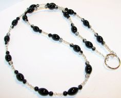 Black Agate and Clear Beaded Eyeglass Chain Office by nonie615, $15.00