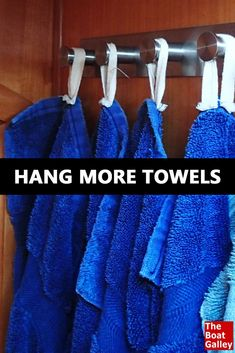 Need more space to hang towels in the bathroom?  Or dish towels in the galley?  Here's a simple solution! via @TheBoatGalley