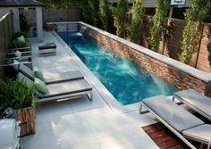 jardin alargado con piscina