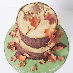 Tree stump cake with Autumn leaves.. Chocolate cake with silky chocolate…