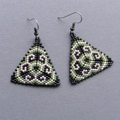 Colorful Seed bead earrings - Triangle Peyote Earrings - black, green and cream. $16.00, via Etsy.