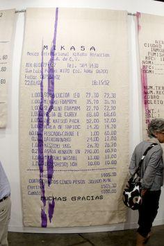 "iheartmyart: "" Gabriel Kuri, Mexican Grocery Receipts, tapestry, 2008, at Art Basel Miami Beach """