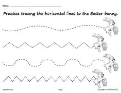 FREE Printable Easter Bunny Line Tracing Worksheet with Curved and Zig Zag Lines! Line tracing worksheets like this are great for preschoolers and kindergartners. Free download includes straight lines too for beginning tracers! Get both tracing printables here --> https://www.mpmschoolsupplies.com/ideas/7929/free-printable-easter-bunny-line-tracing-worksheets/