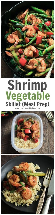 This ultra-easy Shrimp Vegetable Skillet recipe is loaded with veggies, flavorful spices and shrimp. It's a low-carb, gluten-free and paleo one-pan meal that is ready in less than 30 minutes.   www.primaverakitchen.com