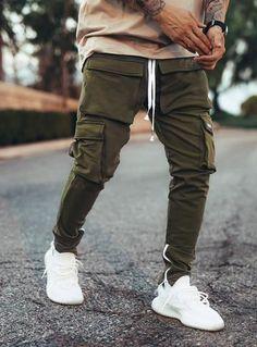 Urban Fashion, Mens Fashion, European Men, Cargo Pants Men, Tracksuit Bottoms, Mens Sweatpants, Vatican City, Khaki Green, North America
