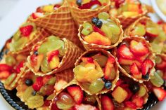 waffle cone fruit cups, baby shower food, barbeque shower, BBQ, gender neutral b.