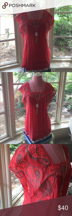 Anthro bright pink sheer blouse Darling! Bright pink embellished top, flowy and flattering. PLUS check out this Kendra Scott classic necklace in my mom's closet @tracienh Anthropologie Tops Blouses