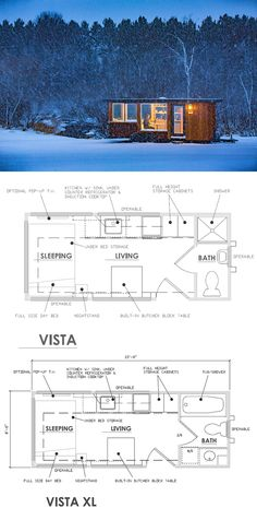 Floor plans for the Vista and Vista XL by Escape Traveler.