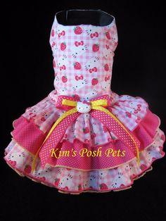Hello Kitty n Strawberry's Dog Dress SMALL _ #HandMadebyKim