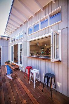 kitchen pass-through window bar for indoor outdoor living. Kitchen Window Bar, Kitchen Pass, Kitchen Windows, Patio Windows, Küchen Design, Layout Design, House Design, Design Ideas, Pass Through Window