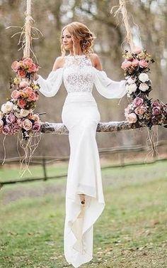 Wedding Dress Tea Length, Long Sleeve Wedding, Long Wedding Dresses, Wedding Gowns, Unique Colored Wedding Dresses, Wedding Venues, Wedding Reception, Wedding Rings, Wedding Bouquets