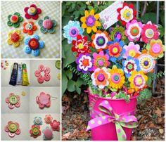 ARTE COM QUIANE - Paps,Moldes,E.V.A,Feltro,Costuras,Fofuchas 3D: aprenda fazer: Flor feita de botão