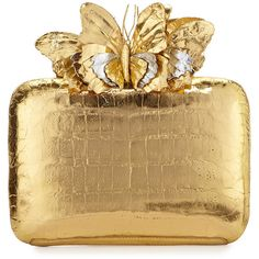 Nancy Gonzalez Butterfly Crocodile Box Clutch Bag (£1,920) ❤ liked on Polyvore featuring bags, handbags, clutches, gold mirror, brown crocodile handbag, gold box clutch, box clutch, nancy gonzalez and gold handbag