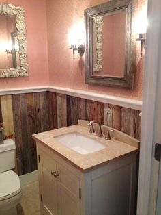 Salvaged details can amplify a tiny room's design cred. Reclaimed boards can make for handsome wainscot or paneling in a postage stamp-size bath.