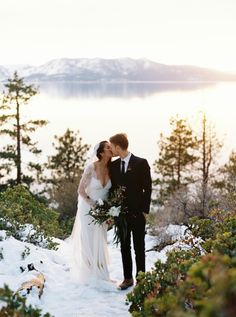 Dreamy winter on Lake Tahoe wedding: http://www.stylemepretty.com/little-black-book-blog/2016/06/01/stunning-sunset-lake-tahoe-elopement/ | Photography: Cassidy Carson - http://www.cassidycarsonphotography.com/