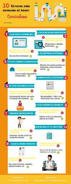 10 errores más comunes al hacer un Curriculum #infografia #infographic #empleo | TICs y Formación