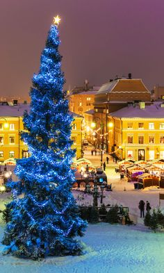 Winter night scenery of Senate Square with Christmas Tree and holiday market in Helsinki, Finland     t