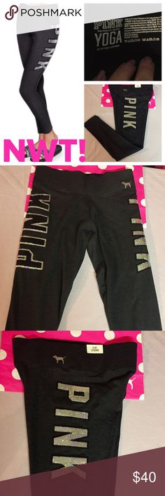 "NWT! PINK SEQUINED BLINGED LEGGINGS NWT & NEW AT PINK! These gorgeous sequined leggings have a regular rise, & a 27.5"" inseam. But what makes these leggings are the sequins-each side of the upper leg has sequins but a completely different look. The left has solid silver sequins & the PINK Pup also in silver-see pic #3, & the right has black sequins surrounded by silver-see pic #4 for a closeup. Just gorgeous! ❌🚫I AM SORRY I DO NOT TRADE OR APPRECIATE LOWBALL OFFERS-THANKS!❌🚫🚭…"