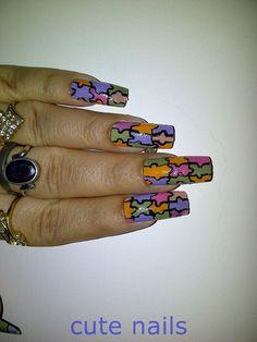 Pastel Puzzle Nail Art