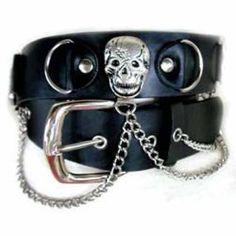Black Pirate Skull Chain Link Goth Belt   Gothic Dress Code