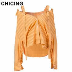 CHICING High Street Striped Off Shoulder Shirts Series 2017 Slash Neck Long Sleeves Irregular length Hem Button Blouse A1707066