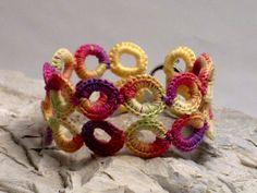 Handmade Fine Thread Irish Crochet Lace Ring Bracelet - Spring Orchid