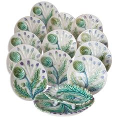 A Set of Twelve French Majolica Asparagus Plates and Server circa 1900   From a unique collection of antique and modern tableware at http://www.1stdibs.com/furniture/dining-entertaining/tableware/