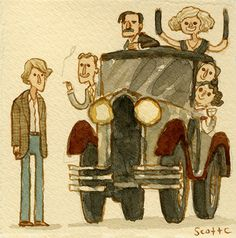 """You can fool me, but you cannot fool Ernest Hemingway!"" watercolor of Midnight in Paris"