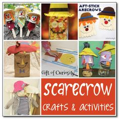 10 scarecrow crafts and activities for fall #scarecrows #fall || Gift of Curiosity