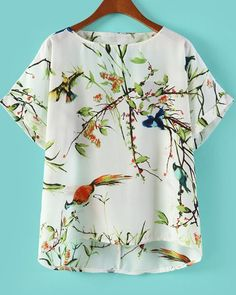 White Cut Out Back Bird with Tree Print Blouse 14.67 Sheinside.com <3