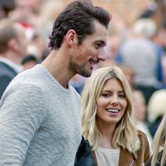 Happy couple: David Gandy and Mollie King attend the final night Hampton Court Palace Festival on Wednesday