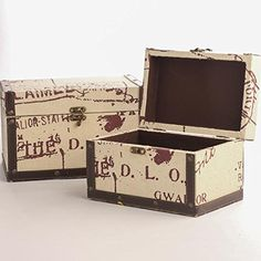 Set of 2 Small Taupe Canvas Covered Wood Steamer Chests with Burgundy Script in 2 Sizes -- Click image for more details.
