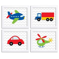 Transportation Nursery Art Set of 4 Print Colorful Red Blue Green Yellow Chevron Child Kid Boy Room Wall Decor Airplane Car Truck Helicopter 2nd Birthday Boys, Birthday Themes For Boys, Art For Kids, Crafts For Kids, Activities For Kids, Transportation Nursery, Diy Art Projects, Kids Room Wall Art, Red And Blue