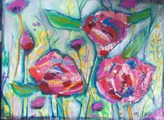 What a Day Pink Rose Trio original mixed media acrylic collage painting on 6x8 canvas panel