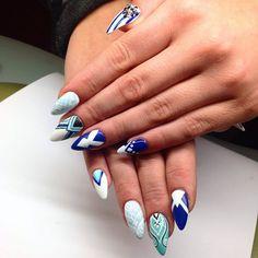 by Ania Leśniewska Indigo Educator :) Follow us on Pinterest. Find more inspiration at www.indigo-nails.com #nailart #nails #indigo #aztec #mint #blue #white #end #of #summer