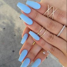 Nail - Matte nails have become super popular in the last year, and these 16 unique matt. - - Matte nails have become super popular in the last year, and these 16 unique matte nail designs will seriously blow you away! nails nail ideas trendy n. Periwinkle Nails, Sky Blue Nails, Blue Matte Nails, Blue Acrylic Nails, Pastel Blue Nails, Pastel Colors, Acrylic Nails For Summer Coffin, Blue Coffin Nails, Matte Nail Polish