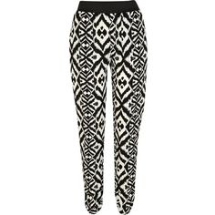 River Island Black and white tribal print tapered trousers ($45) via Polyvore