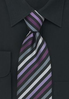 Striped Mens Tie in Purple, Lavender, Silver, and Gray