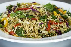 Asian Noodle Salad. Small (healthier) changes: only 8oz of rice noodles and half the olive oil