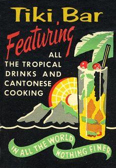 vintage Tiki Bar and Chinese restaurant matchbook cover Vintage Tiki, Vintage Ads, Vintage Prints, Vintage Posters, Tiki Hawaii, Hawaiian Tiki, Retro Advertising, Vintage Advertisements, Tiki Lounge