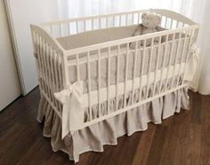 Linen Crib nursery bedding -  4 side bumper. $120.00, via Etsy.