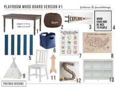 Ultimate Playroom Mood Board by Postbox Designs, kids decor, playroom design, playroom decor, land of nod, restoration hardware, pottery barn kids, boys room design, e-design, toy organization, kid spaces, target style, pillowfort, kid printables, teepee, kid gallery wall, map print, etsy printables, pennant