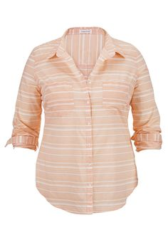 (possible wedding day getting ready shirt) striped button front long sleeve plus size shirt - maurices.com