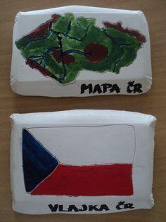 Mapa a vlajka ČR - rytí do sádrového odlitku (mapa podle šablony, vlajka od ruky)