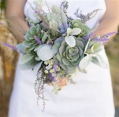 """Purple Wedding Flowers Garden """"Fresh"""" Succulent and Lavender Fillers Wedding Real Touch Silk Bouquet Bouquet Succulent, Budget Wedding, Wedding Planning, Wedding Ideas, Diy Wedding, Lavender Bouquet, Rustic Bouquet, Purple Wedding, Silk Wedding Flowers"""