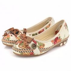 b7313a515fe0 Bowknot Button Flower Small Wooden Decoration Slip On Flat Loafers Loafer  Shoes
